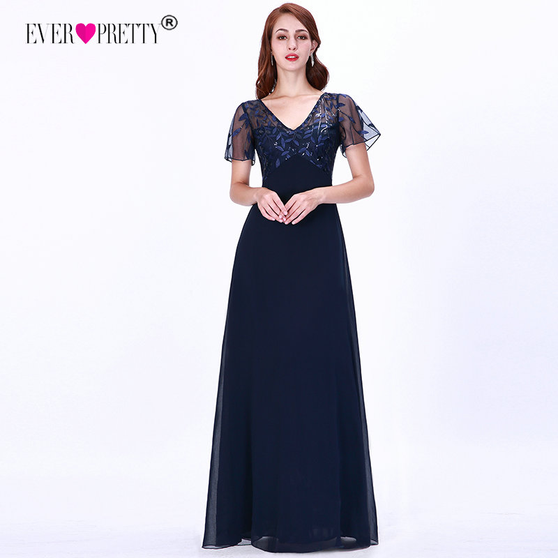 Mother Of The Bride Dresses Ever Pretty Elegant Navy Blue A-line Short Sleeve Chiffon Lace Embroidery Party Gowns For Wedding