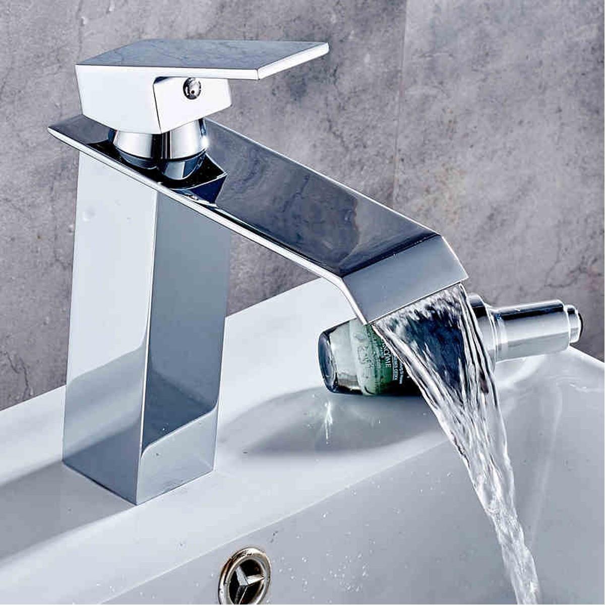 Basin Sink Faucet Bathroom Waterfall Mixer Widespread Chrome Polish Single Handle Single Hole Mixer Tap Deck Mounted FaucetBasin Sink Faucet Bathroom Waterfall Mixer Widespread Chrome Polish Single Handle Single Hole Mixer Tap Deck Mounted Faucet