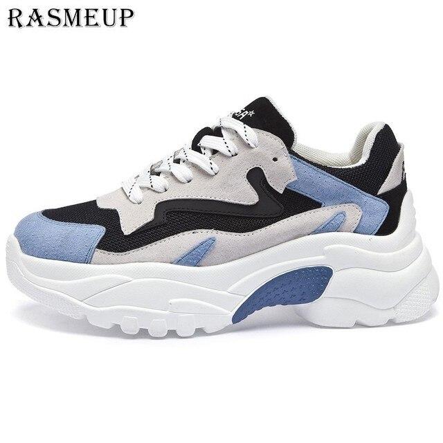 RASMEUP/женские кроссовки на платформе, кожаные сетчатые женские кроссовки на не сужающемся книзу массивном каблуке, модель 2018 года, модная женская обувь на толстой подошве для папы, женская обувь на плоской подошве