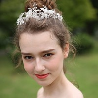 Vintage Silver Leaf Crown Rhinestone Tiara Wedding Hair Accessories Luxury Handmade Headband Bridal Hairbands