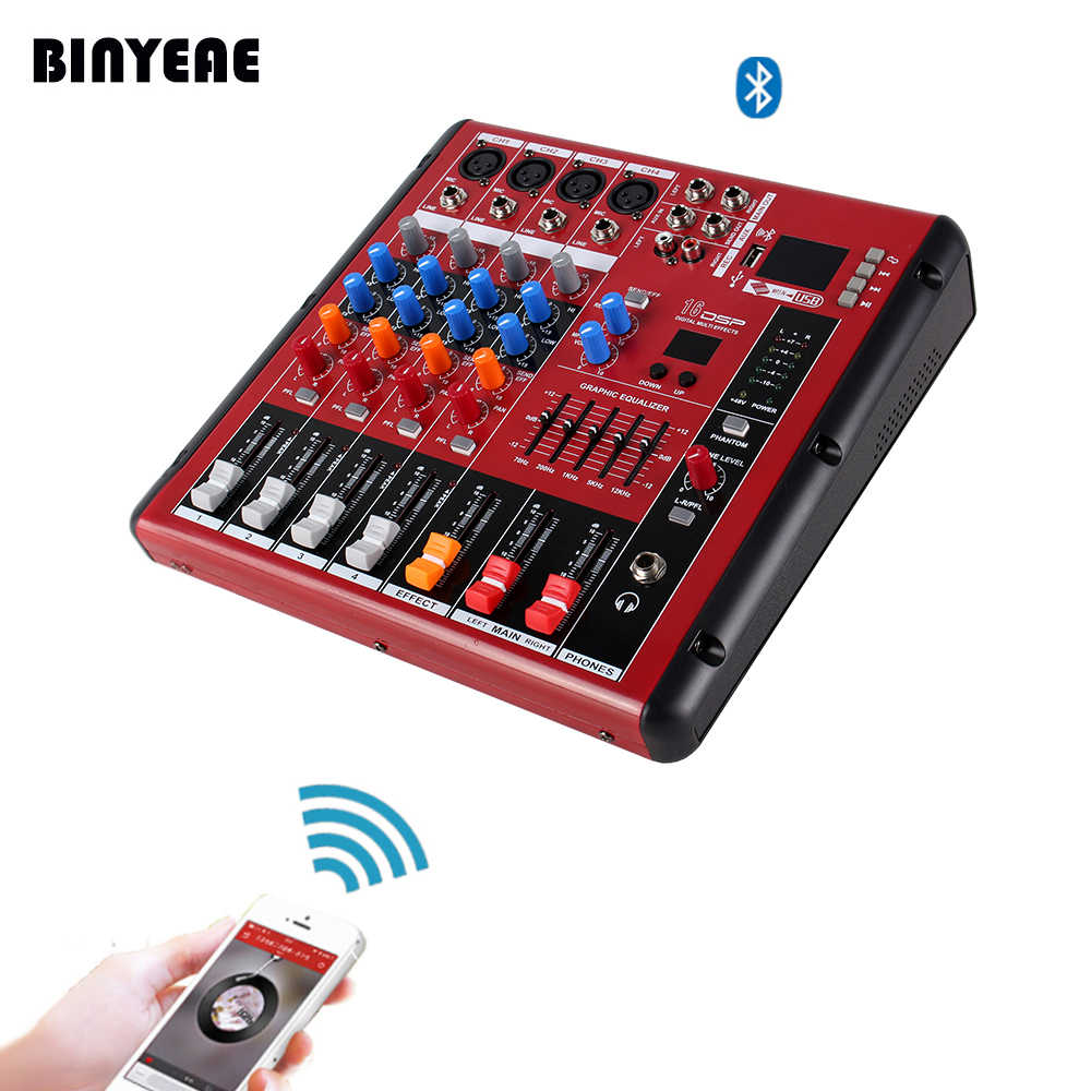 4 Channel Mini Table De Mixage Mixer With Usb Bluetooth Control