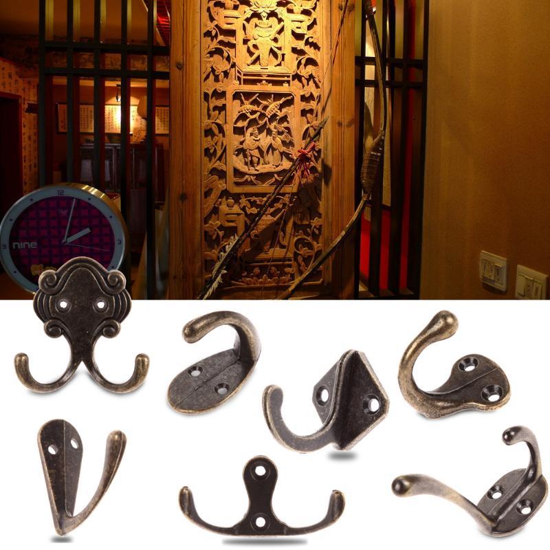 Vintage Antique Zinc Alloy Door Bedroom Hooks Hanger Hook For Clothes Coat Hat Bag Towel Hanger Bathroom Wall Hook Rack