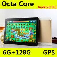 10,1 '4G телефон вызов таблетки Android 8,0 OctaCore 6G + 128G планшетный ПК Встроенный 3G Две sim карты ноутбук WiFi gps Bluetooth FM планшет