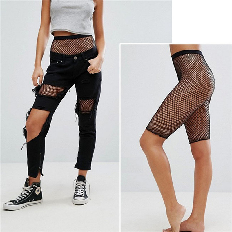 Women Sexy Sporty Fishnet Mesh Legging Cycling Shorts Hot Pants Black Stockings Hollow Out See Through High Waist Short Clubwear