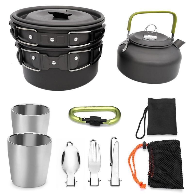 Camping en plein air randonnée et pique-nique théière Pot ensemble batterie de cuisine Portable Mess Kit mousqueton Camping ustensiles de cuisine cuisinière avec thé tasse à café