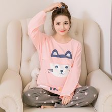Women's Summer Pajamas Set Pink Cute Cartoon Pattern Floral Sweet Home Suit(China)