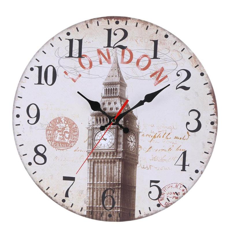30Cm Wooden Wall Clock Round Vintage Mute Clock Home Office Wall Decor Digital Wall Clock Best Selling Products