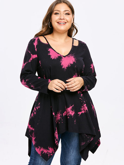 8c6ef2aea Wipalo Women Plus Size Cutout Tie Dye Handkerchief Tunic T Shirt Casual V  Neck Long Leeves Asymmetrical Tee 5XL Big Size Tops-in T-Shirts from Women's  ...
