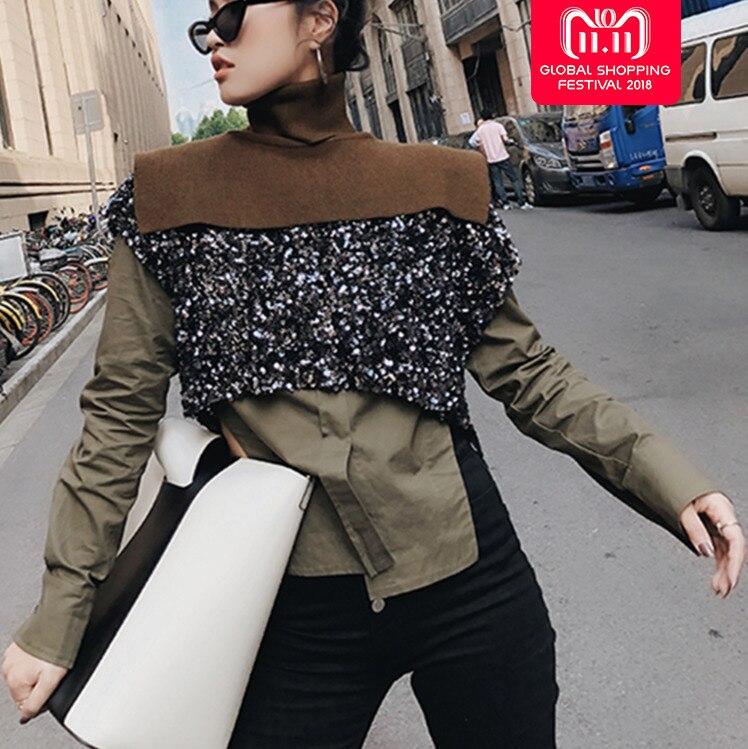 SHENGPALAE 2019 nouveau printemps trois pièces armée vert Vent chemise Sequin + col roulé tricot gilet femmes FF979