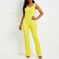 Sexy Jumpsuit Women Summer Overalls Rompers Backless Yellow Club Sleeveless Ladies Fashion Elegant Lace Strap Long Jumpsuits New