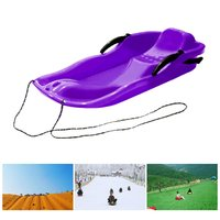 2Color Outdoor Sports Plastic Skiing Boards Sled Luge Snow Grass Sand Board Ski Pad Snowboard With Rope For Double People