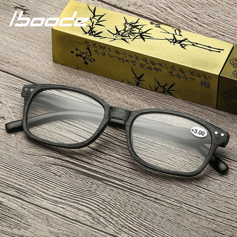 Iboode Unisex Wood Grain Reading Glasses Men Women Smalle Square Full Frame Reading Eyewear Presbyopia Eyeglasses +1.0 To +4.0