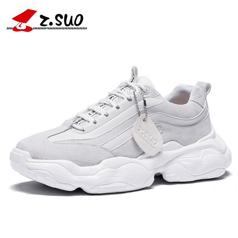 ZSUO Brand Fashion Leather Men's Shoes Height Increasing Outdoor Sneakers Men Lace up Comfortable Canvas Shoes For Male
