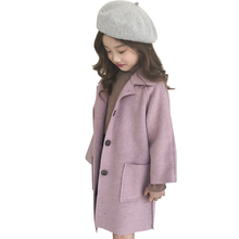 Hot Sale Girls Long Woolen Jacket Autumn Winter Children Single Breasted Overcoat Kids Trench Coat Casual Outerwear Clothes X206 pre sale winter jacket coat for girls kids clothing khaki plaid coat outfits clothes woolen overcoat for children outwear girls