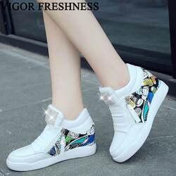 VIGOR/женские туфли-лодочки, белые кроссовки, обувь с граффити, женские туфли-лодочки, обувь на высоком каблуке, обувь, увеличивающая рост