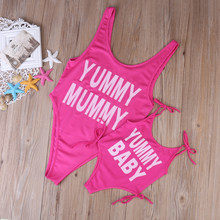 Letter Baby/Mommy One-piece Family Matching Swimsuit Women's One Piece Swimsuit Swimwear Bathing Suits Monokini Bikini Costume(China)