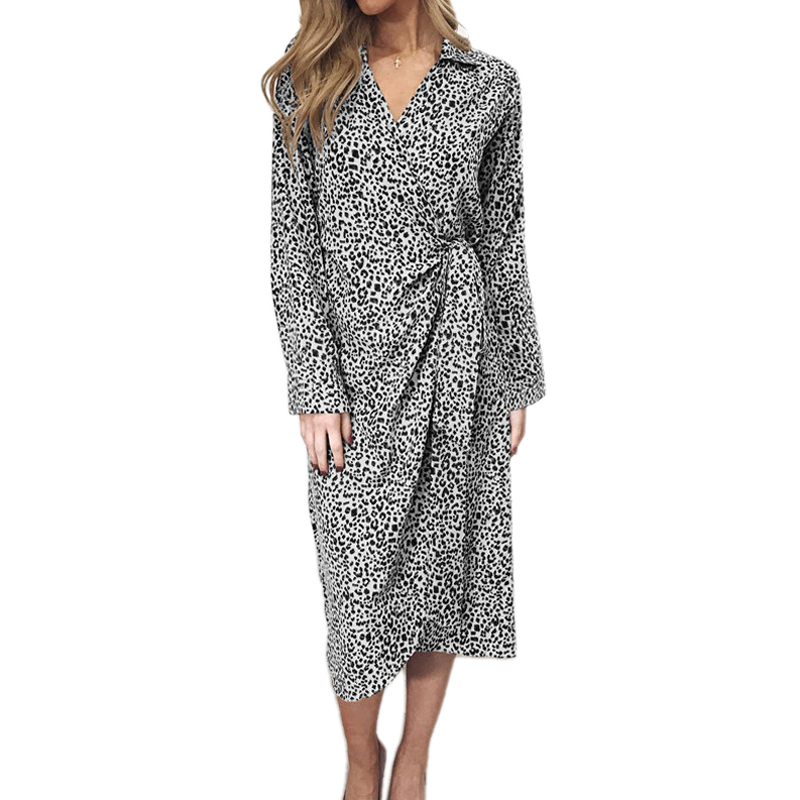 Women V Neck Long Sleeve Dress Leopard Print Split Lace Dress Casual Party Holiday Spring Dress Ladies