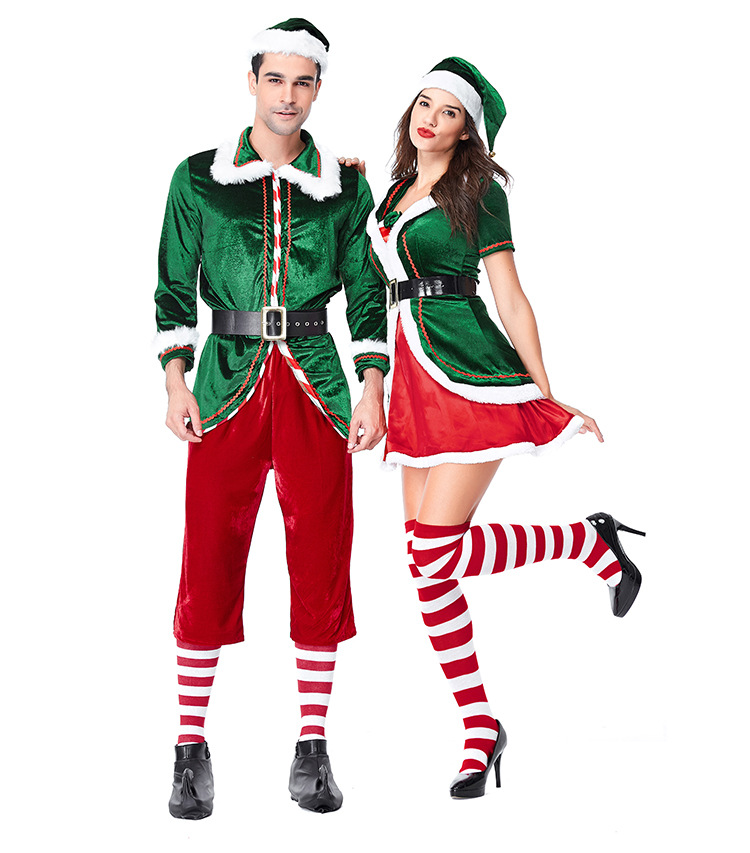 Women Men Couple Green Santa Claus Costume Christmas tree Outfit