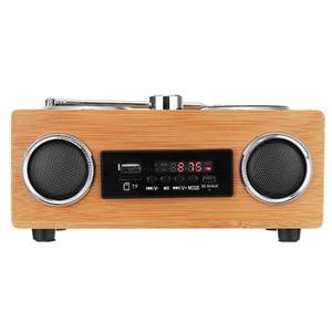 Image 3 - Retro Vintage Radio Super Bass FM Radio Bamboo Multimedia Speaker Classical Receiver USB With MP3 Player Remote Control