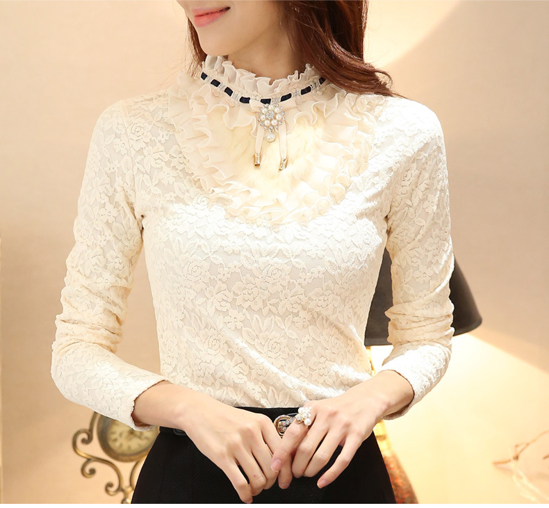 Women New Long Sleeved Plus Cashmere Thick Lace Bottoming Shirt Korean Women's Tops Lace Pullover Blouse