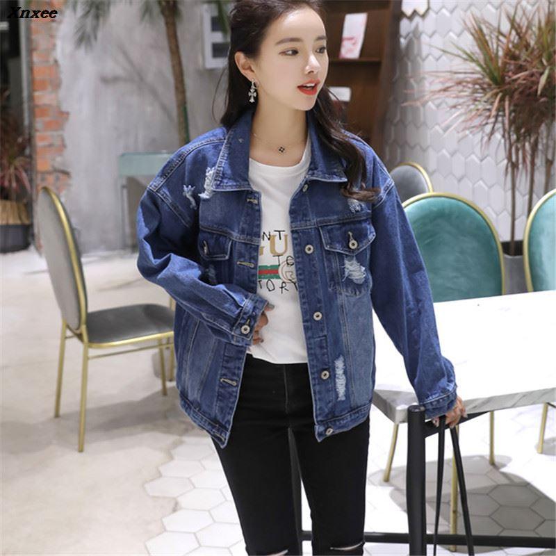 Women Basic Coats Spring Autumn Boyfriend Holes Denim Jacket 2018 Vintage Long Sleeve Loose Female Jeans Coat Casual Outwear in Jackets from Women 39 s Clothing