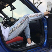 Mens Jeans 2019 Summer New Hong Kong Style Loose Sequins Hole Nine Points Slim Feet Casual Pants Handsome Clothing