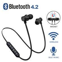 Wireless Earphone Bluetooth Headset Magnetic Earbuds Waterproof Sport With Mic F