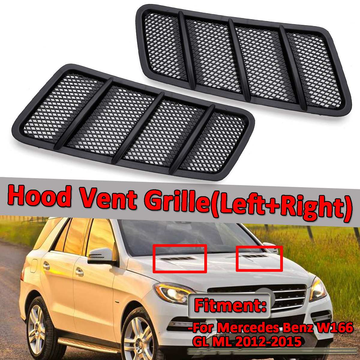 Car Front Hood Vent Grille Air Flow Intake Hood For Mercedes For Benz W166 GL GL350 GL450 GL550 ML ML350 ML550 2012-2015Car Front Hood Vent Grille Air Flow Intake Hood For Mercedes For Benz W166 GL GL350 GL450 GL550 ML ML350 ML550 2012-2015