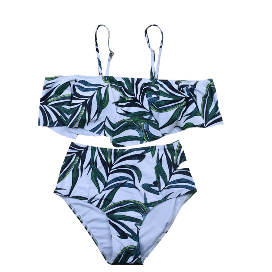 2019 Sexy 2 Piece Set High Waist Swimwear Women Striped Biquini Ruffled Swim Bathing Suit Two Piece Vintage Swim set in Women 39 s Sets from Women 39 s Clothing