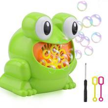 Зеленый милый лягушка автоматическая машина пузыря Воздуходувка Производитель Дети Крытый Открытый летних вечеринок игрушки CAS9330A