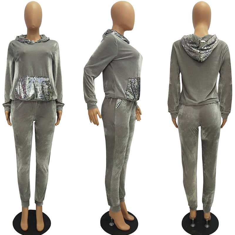 Conjunto de dos piezas de terciopelo sudaderas con capucha chándal femenino ropa de invierno traje de lentejuelas de manga larga Joggers de terciopelo mujeres sudaderas de talla grande