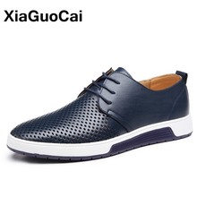 цена на Plus Size Leather Men Casual Shoes 2019 Summer Luxury Breathable Holes Man Flats Lace Up Male Oxfords Hot Sale Drop Shipping