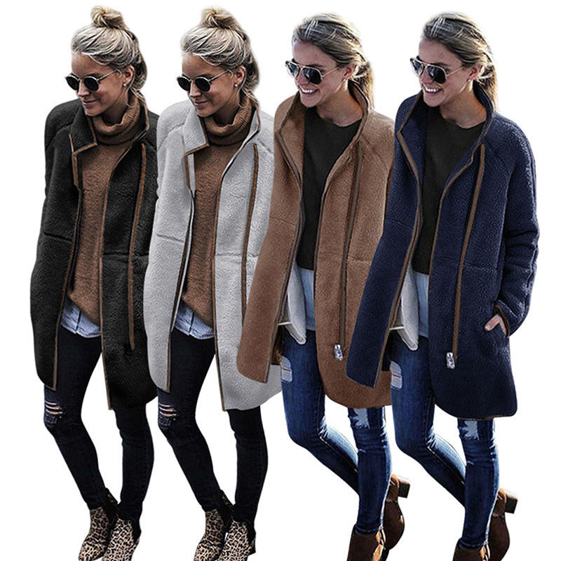 Womens Winter Fluffy Fleece Jacket Coat   Parkas   Zip UP Pocket Outwear Stand-up Collar Overcoat