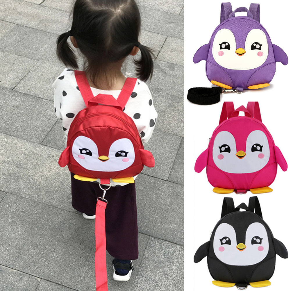 Anti Lost Toddle Children Kids Backpack Cute Cartoon Safety Backpack Adjustable Strap Zipper Gift With Reins Penguin Rucksack~
