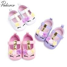 ¡Novedad de 2019! zapatos de unicornio con flores para bebés y niñas, zapatos de piel sintética, zapatos de suela blanda para cuna, zapatos para primeros andadores de primavera y otoño de 0 a 18M