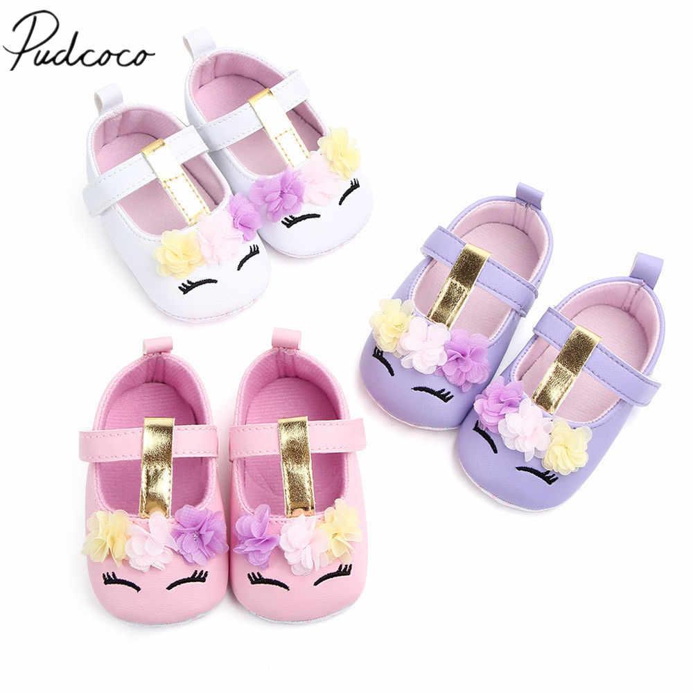 2019 yepyeni Toddler bebek kız çiçek Unicorn ayakkabı PU deri ayakkabı yumuşak Sole beşik ayakkabı ilkbahar sonbahar ilk yürüyüşe 0-18M