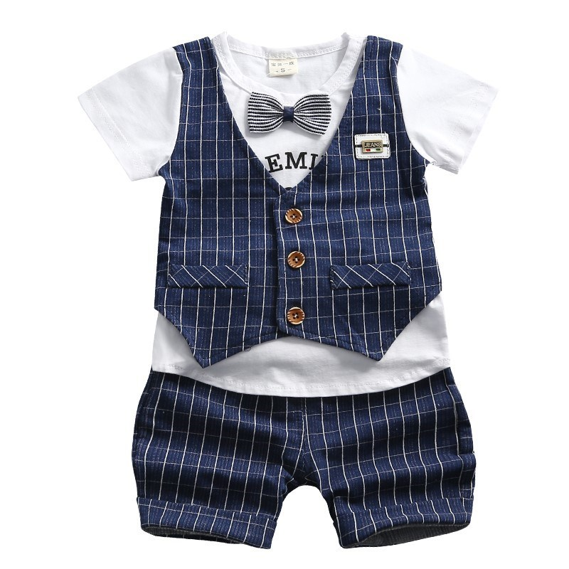 2019 Summer Children Boys Girls Cotton Tracksuit Fashion Baby Gentleman Tie T-shirt Shorts 2Pcs/Sets Toddler Infant Clothing Set