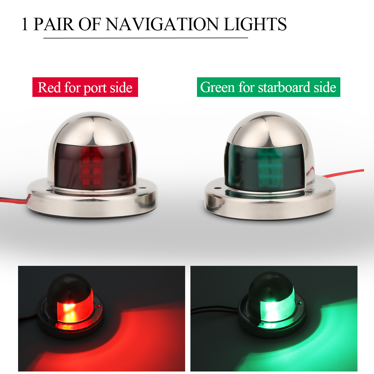 Boat Parts & Accessories Marine Hardware Jeazea 2pcs Dc12v 8w Green Red Marine Navigation Led Light Starboard Port Side Light For Boat Yacht Skeeter