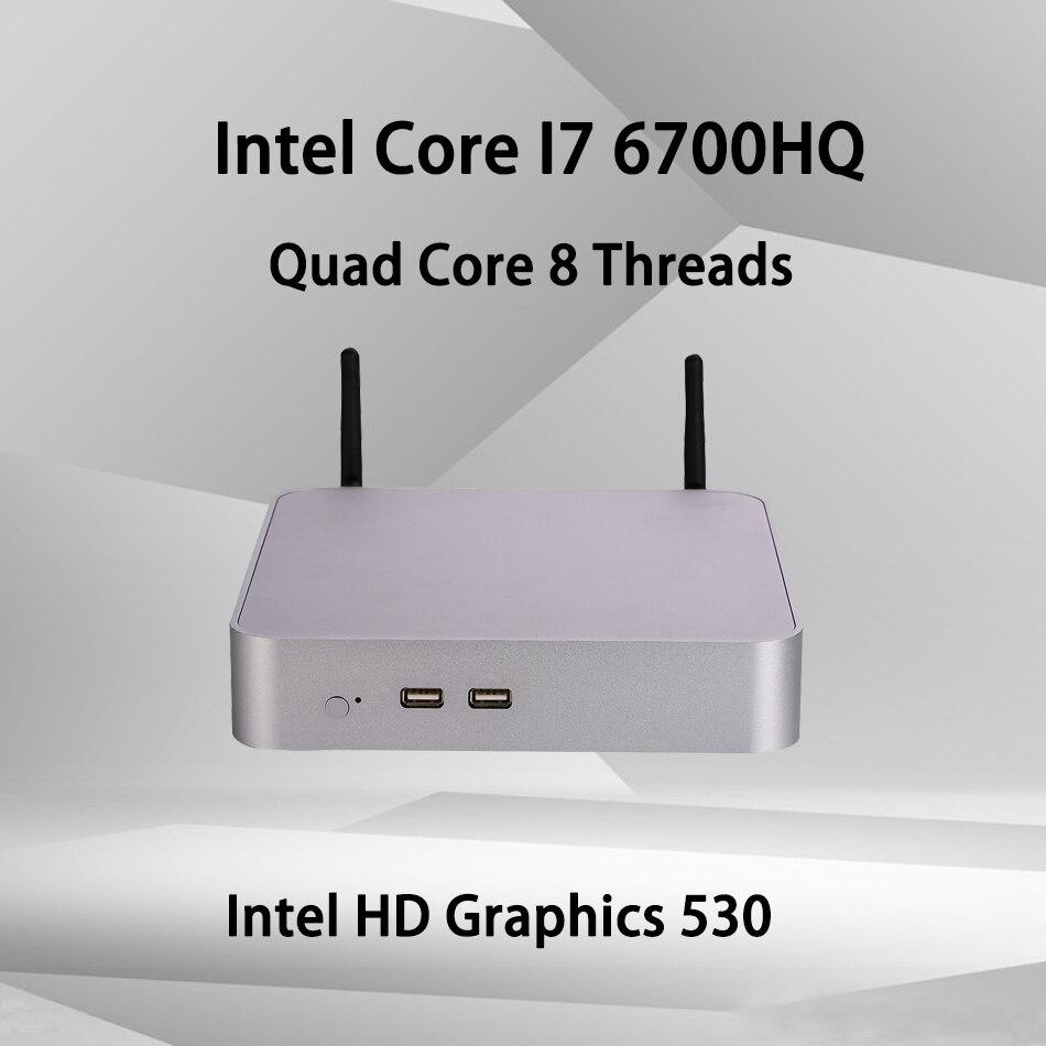Fan Mini PC,Intel Core I7 6700HQ,Windows 10/Ubuntu,Silver,[HUNSN BA03L],(WiFi/1HD1.4//1DP1.2/1VGA/4USB3.0/2USB2.0/1LAN)