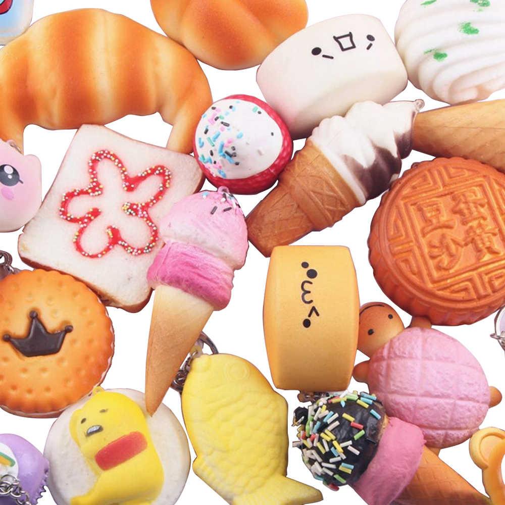 10-20 шт Мягкая экструзия игрушки для хлеба Сжимаемый медленно поднимающийся брелок-игрушка анти-стресс беспокойство пекарня, торт пончики отскок брелок