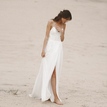 Beach Wedding Dresses Spaghetti Strap Open Back Boho Bridal Dresses 2019 Chiffon High Split Lace Top Wedding Gowns lace yoke split tie back top