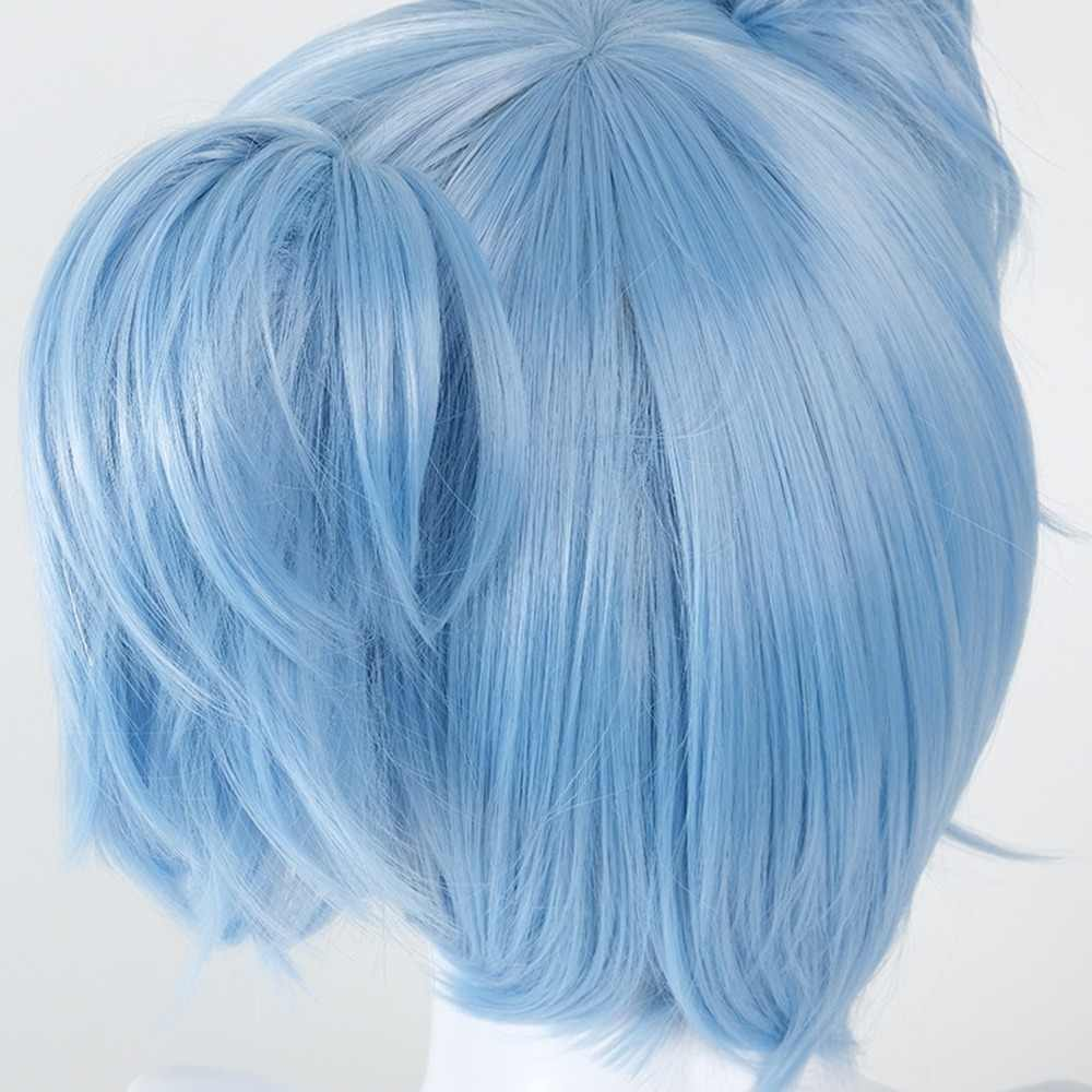 Sally Face Cosplay Props Sally Latex Mask and Wig Short Blue Heat Resistant Synthetic Hair Clip Ponytails Wigs