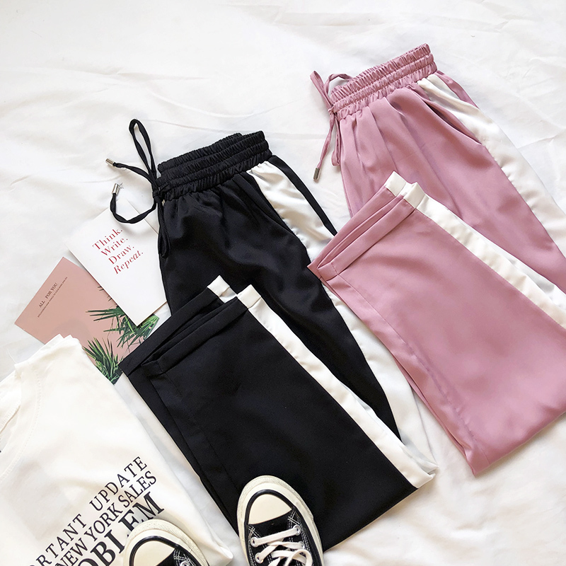 Side Stripe Women Pink   Pants   High Waist Satin Loose   Wide     Leg     Pants   For Summer