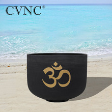 CVNC  8 Note C/D/E/F/G/A/B Black Colored Chakra Quartz Crystal Singing Bowl OM