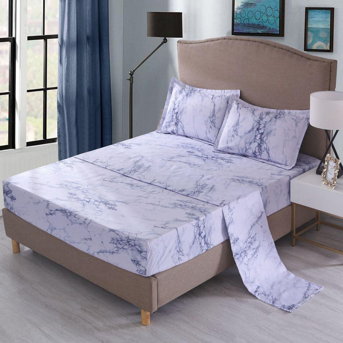 Moderne marbre imprimé drap housse + drap plat + taies d'oreiller 3/4 pièces ensemble de literie pour simple jumeau complet reine lit King