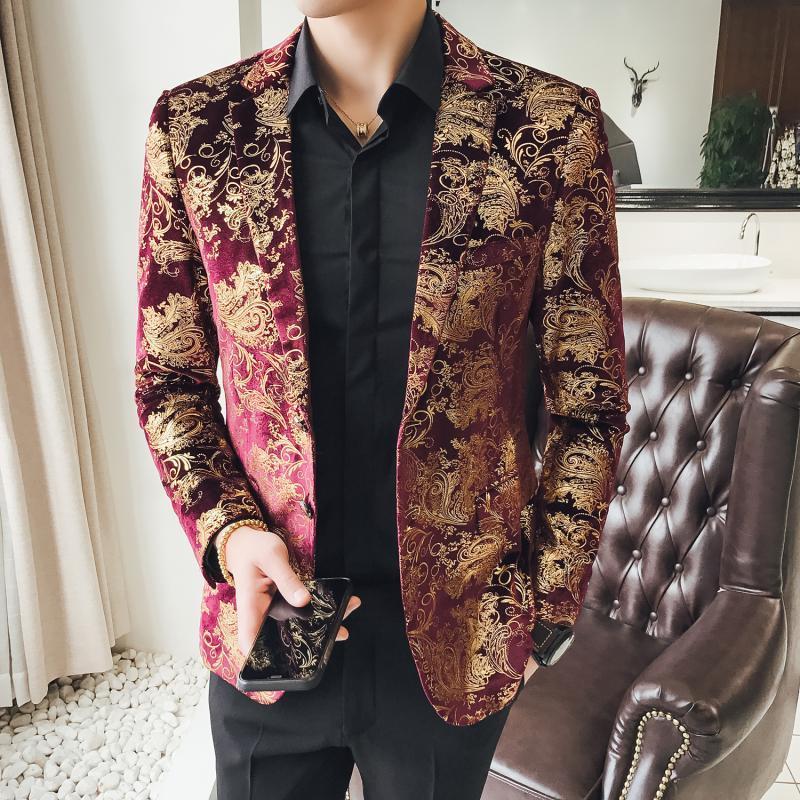 Gold Red Floral Blazer Jacket Mens Slim Fit Streetwear Men Blazer Fashion Blazer Men Spring Night Club Prom Tuxedo Formal Wear