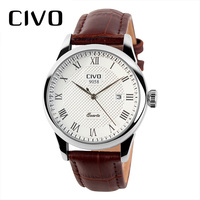 CIVO New Fashion Mens Watches Wrist Watches Waterproof Date Calendar Analogue Quartz Genuine Leather Watch Men Clock Erkek Saat