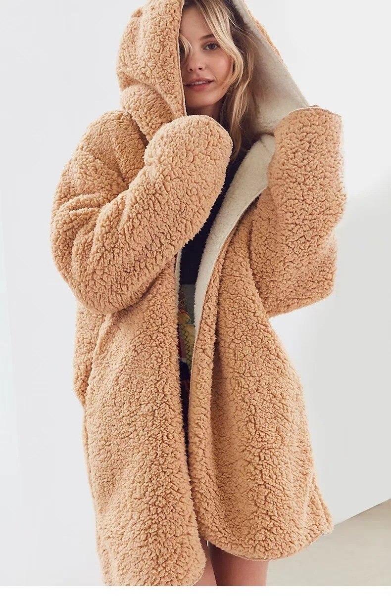 loose lamb faux fur jacket coats women winter plush teddy. Black Bedroom Furniture Sets. Home Design Ideas
