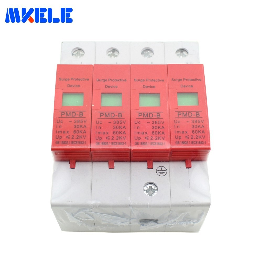 Hot Sale AC Surge Protector Protective Low-voltage Arrester Device Protector Relay SPD 4P 30KA~60KA ~420VAC House Free ShippingHot Sale AC Surge Protector Protective Low-voltage Arrester Device Protector Relay SPD 4P 30KA~60KA ~420VAC House Free Shipping