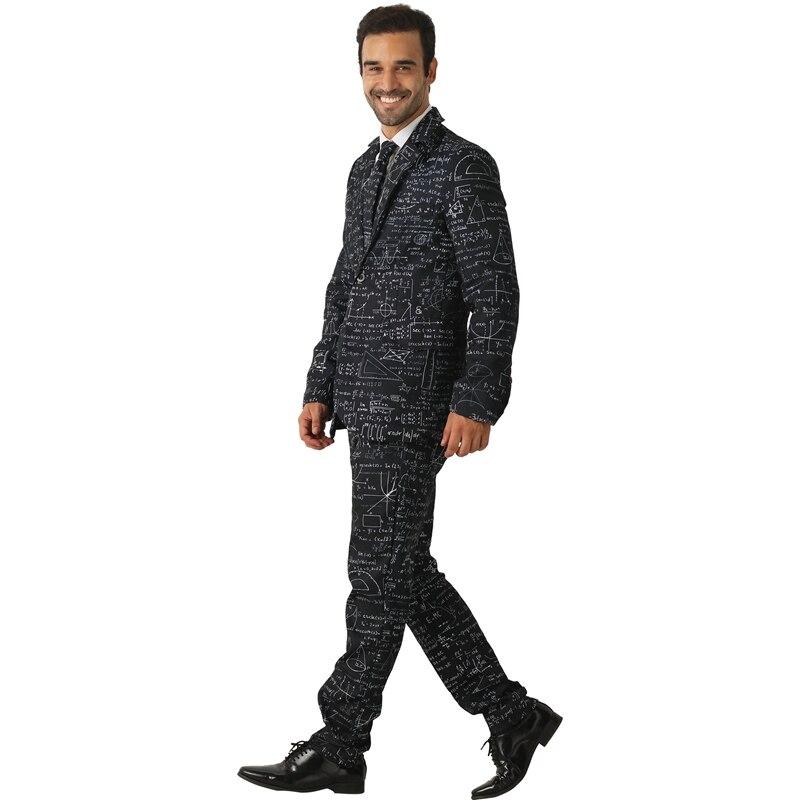 Adulte noir mathématiques formule hommes de premier cycle Style prétendant fantaisie Costume fou Costume Halloween - 2